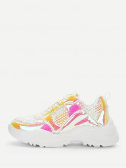 Chunky Trainers Round Toe Lace Up Multicolor Metallic Panel Lace-up Chunky Sneakers