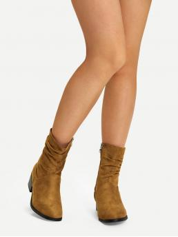 Business Casual Other Round Toe Plain Side zipper Camel Mid Heel Chunky Plain Faux Suede Ruched Boots