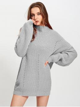 Grey Plain Cut out Stand Collar Exaggerate Eyelet Detail Sweater Ladies
