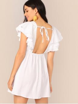 Sexy A Line Plain Flared Regular Fit Square Neck Cap Sleeve Butterfly Sleeve High Waist White Short Length Tie Back Layered Ruffle Armhole Dress