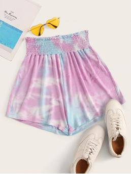 Casual Tie Dye Wide Leg Regular Elastic Waist High Waist Multicolor Tie Dye Shirred Waist Shorts