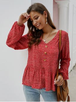 Casual Floral Shirt Regular Fit V neck Long Sleeve Red Regular Length Ditsy Floral Ruffle Hem Button Blouse
