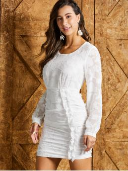 Elegant Bodycon Plain Pencil Slim Fit Round Neck Long Sleeve Regular Sleeve Natural White Short Length SBetro Ruffle Trim Ruched Front Textured Bodycon Dress
