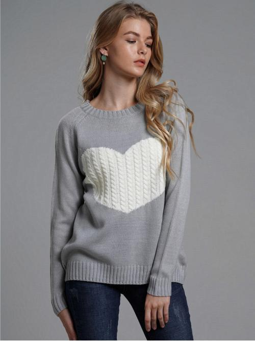 Casual Heart Pullovers Regular Fit Round Neck Long Sleeve Raglan Sleeve Pullovers Grey Regular Length Heart Pattern Cable Knit Sweater