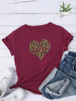 Casual Heart and Leopard Regular Fit Round Neck Short Sleeve Regular Sleeve Pullovers Burgundy Regular Length Heart And Leopard Print Tee