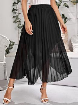 Elegant Pleated Plain Mid Waist Black Long/Full Length Hanky Hem Pleated Skirt with Lining