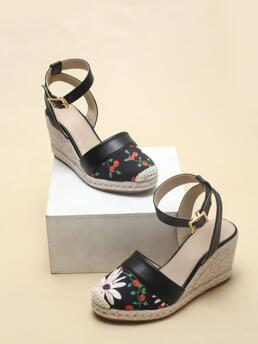 Black Pu Leather Rubber Pu Leather Floral Pattern Wedge Slingback Shoes Pretty