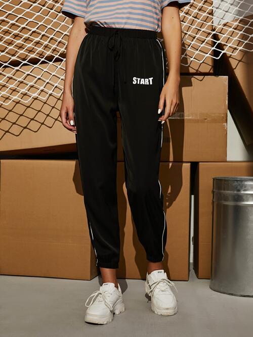 Beautiful Black High Waist Contrast Binding Letter Graphic Contrast Piping Joggers
