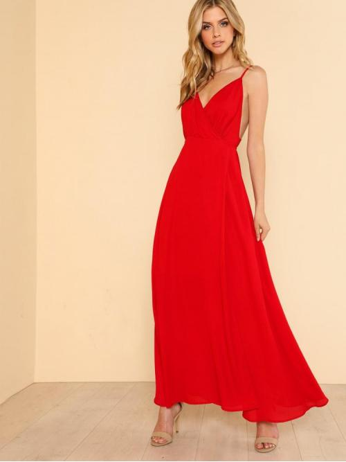 Red Plain Backless Spaghetti Strap High Split Surplice Prom Dress Beautiful