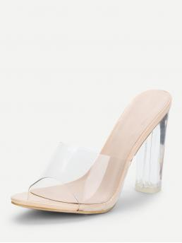 Polyester Apricot Mules Fringe Clear Design Block Heeled Pumps on Sale