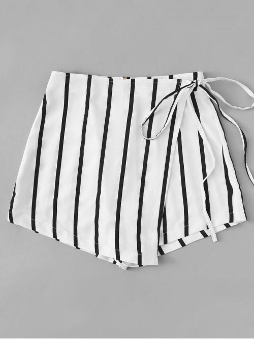 Black and White Natural Waist Wrap Culottes Knot Side Shorts Ladies