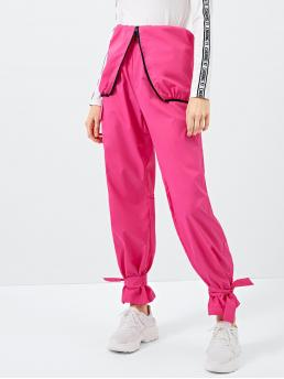 Womens Pink Natural Waist Zipper Sweatpants Neon Ruffle Hem High Waist Pants