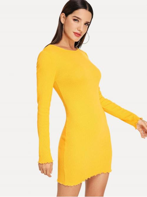 Women's Yellow Plain Button Round Neck Rib Knit Fitted Dress