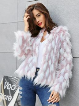 Casual Coat Colorblock Regular Fit Long Sleeve Multicolor Crop Length Faux fur Coat with Lining