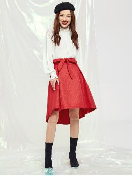 Elegant and Glamorous A Line Mid Waist Red Midi Length Self Belted High Low Jacquard Skirt with Belt