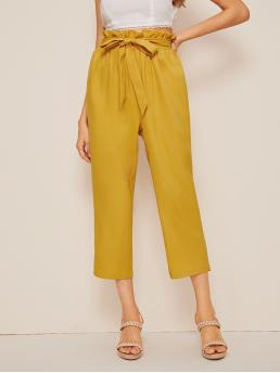 Casual Plain Wide Leg Regular Elastic Waist High Waist Yellow Cropped Length Solid Paperbag Waist Crop Pants with Belt