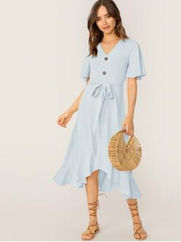 Casual A Line Plain Flounce Regular Fit V neck Short Sleeve Butterfly Sleeve Natural Blue Long Length Button Front Belted Ruffle Hem V-neck Dress with Belt