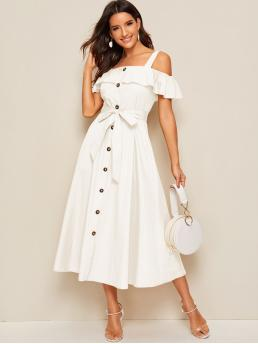 Boho Shirt Plain Flared Regular Fit Straps Short Sleeve Butterfly Sleeve Natural White Long Length Flounce Foldover Button Front Self Belted Dress with Belt