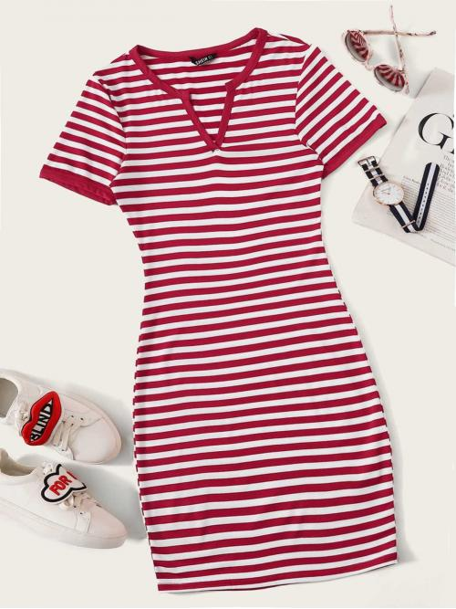 Preppy Bodycon Striped Slim Fit Notched Short Sleeve Regular Sleeve Natural Burgundy Mini Length Notch Neck Striped Fitted Dress