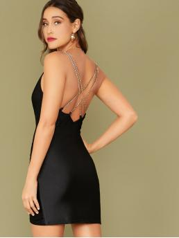 Glamorous and Sexy Bodycon Plain Pencil Slim Fit Asymmetrical Neck Sleeveless High Waist Black Short Length Cowl Neck Chain Strappy Open Back Ruched Detail Dress