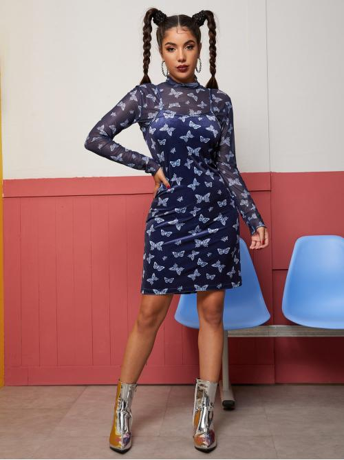Navy Blue all over Print Drawstring Spaghetti Strap all over Butterfly Print Dress Without Top Discount