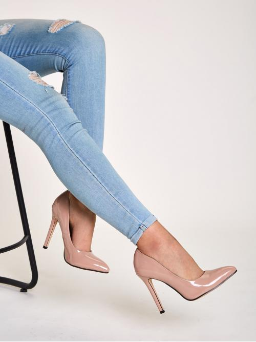 Business Casual Apricot High Heel Stiletto Patent Point Toe Stiletto Heels