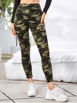 Multicolor Regular Camo Cropped Wide Waistband Leggings Shopping