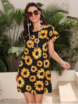 Multicolor all over Print Round Neck Short Sunflower Print Dress Affordable