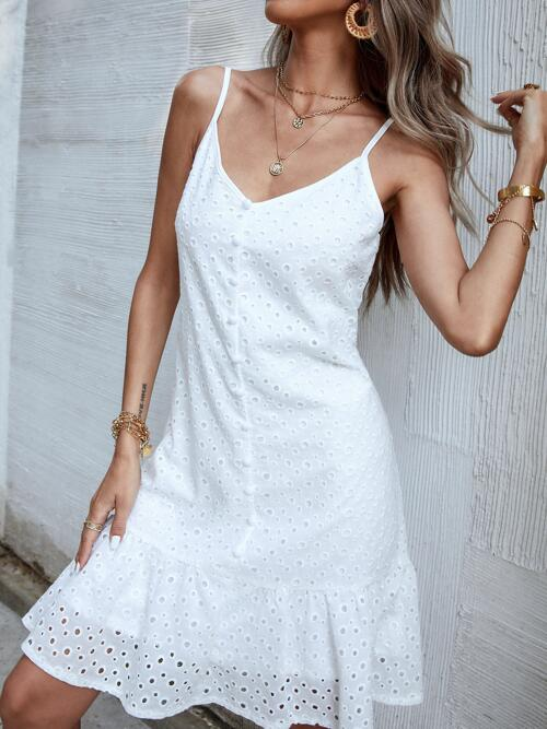 White Plain Eyelet Embroidery Spaghetti Strap Solid Eyelet Embroidered Dress on Sale