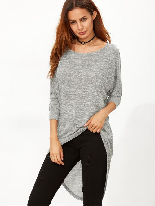 Casual Plain Regular Fit Round Neck Long Sleeve Batwing Sleeve Grey Longline Length Marled Knit Bow Back High Low T-shirt