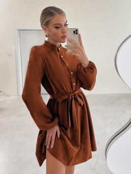 Rust Brown Plain Button Front Stand Collar Solid Mock Neck Dress Clearance