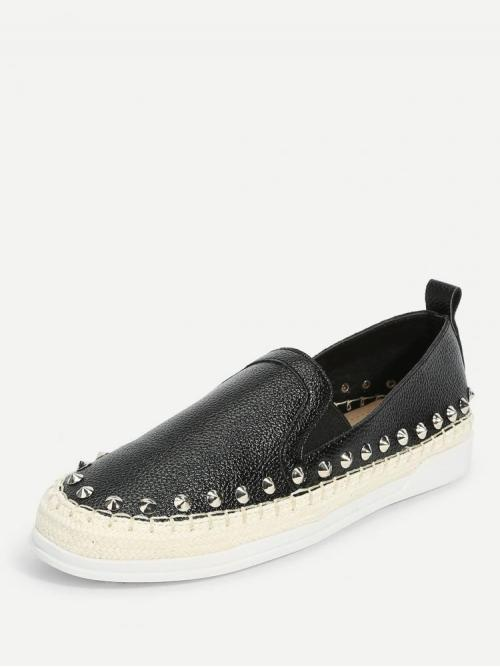 Women's Corduroy Black Loafers Studded Spike Trim Slip on Flats