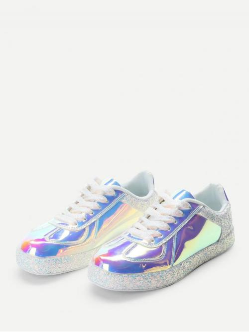 Cotton White Skate Shoes Glitter Detail Iridescence Sneakers Discount