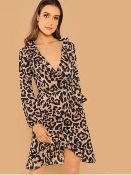 Elegant Leopard Regular Fit Long Sleeve Natural Multicolor Midi Length Leopard Print Ruffle Hem Surplice Dress with Belt