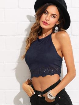 Boho Halter Plain Slim Fit Halter Top Navy Crop Length Scallop Laser Cut Suede Halter Top