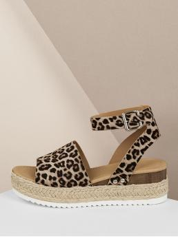 Boho Open Toe Leopard Platform Ankle Strap Multicolor Mid Heel Espadrille Cheetah Wide Band Jute Wrap Wedge Sandals