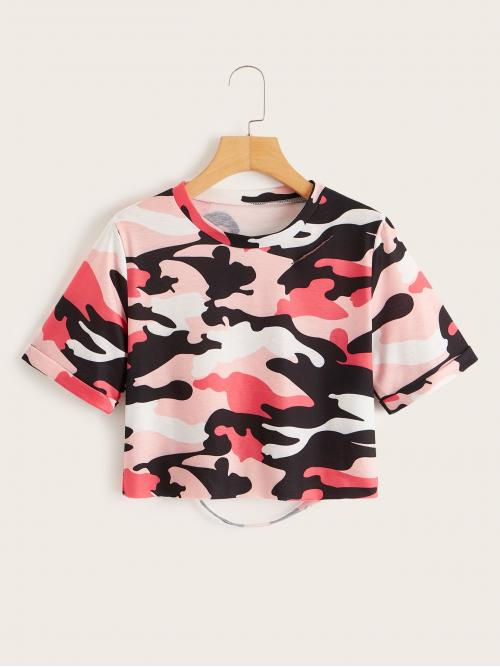 Casual Camo Regular Fit Round Neck Short Sleeve Pullovers Multicolor Crop Length Camo Print Cut Out Back Crop Tee