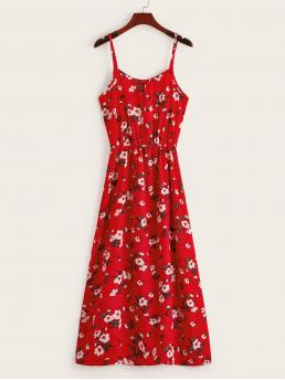 Casual Cami Floral Loose Spaghetti Strap Sleeveless Natural Red Long Length Ditsy Floral Cami Dress