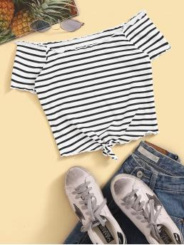 Casual Striped Slim Fit Off the Shoulder Short Sleeve Pullovers Black and White Crop Length Lettuce Trim Knot Hem Ribbed Bardot Tee