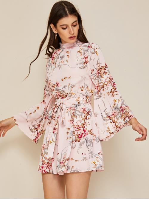 Boho A Line Floral and Plants Flared Regular Fit Stand Collar Long Sleeve Natural Pink Short Length Tie Backless Flounce Sleeve Self Belted Floral Print Dress with Belt