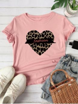 Casual Letter and Heart Regular Fit Round Neck Short Sleeve Regular Sleeve Pullovers Pink Regular Length Leopard Heart & Letter Graphic Tee