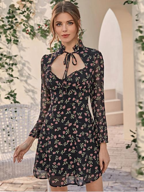 Boho A Line Floral Regular Fit Stand Collar Long Sleeve Regular Sleeve Natural Multicolor Short Length Sweetheart Neck Knot Floral A-line Dress with Lining