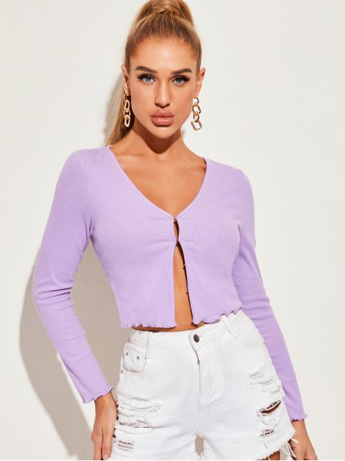 Casual Plain Regular Fit V neck Long Sleeve Regular Sleeve Placket Lilac Purple Crop Length Hook and Eye Front Lettuce Trim Top