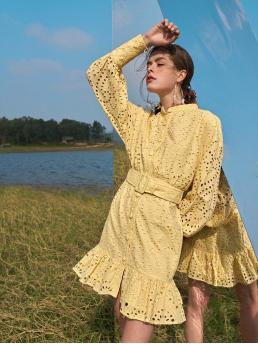 Fashion Yellow Plain Eyelet Embroidery Stand Collar Button Front Ruffle Hem Embroidered Dress
