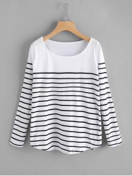 Casual Striped Regular Fit Scoop Neck Long Sleeve Black and White Striped Loose T-shirt
