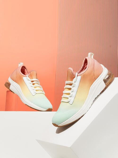 Discount Multicolor Fabric Eva Cotton Cuccoo Ombre Lace up Decor Knit Running Shoes