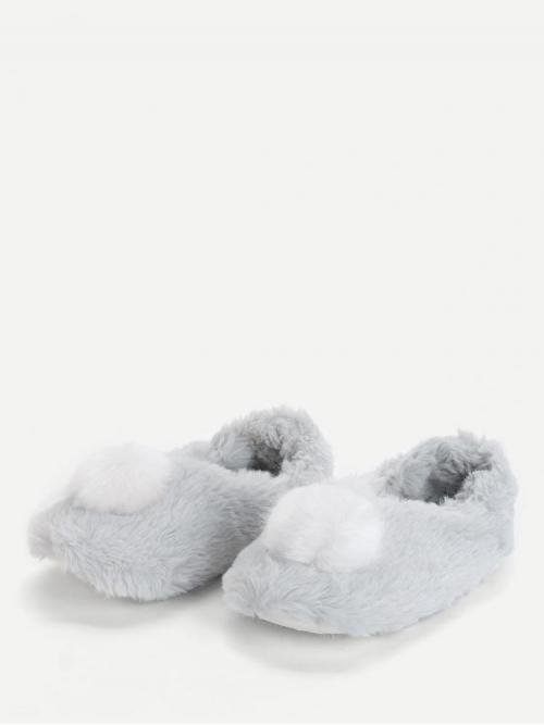 Women's Polyester Blue Bodycon Pocket Contrast Pom Pom Fluffy Slippers