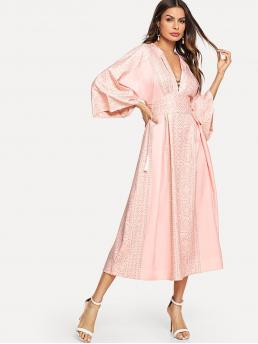 Boho A Line Deep V Neck Long Sleeve Flounce Sleeve High Waist Pink Long Length Plunging Kimono Sleeve Tassel Tie Dress
