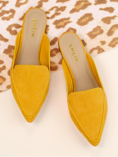 Corduroy Yellow Mules Zipper Faux Pointy Toe Loafer Affordable