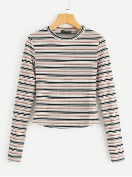 Casual Striped Slim Fit Round Neck Long Sleeve Multicolor Regular Length Colorful Striped Ribbed Tee